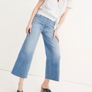 Madewell Wide Leg Cropped Button Front Jeans 28